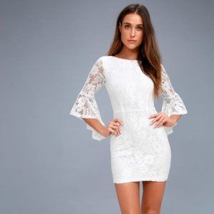 Lulu's Allure 'Em In White Lace Bell Sleeve Dress
